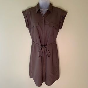 Express Olive Belted Shirt Dress, Size Extra Small